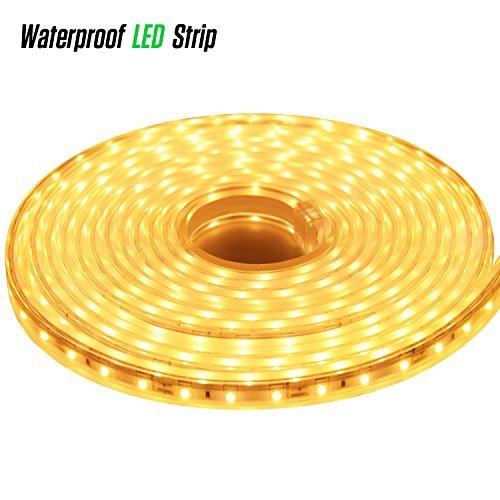 LUXJET 12V 16.4ft LED Rope Lights Under Cabinet Strip Light Kit, IP65 Waterproof 2835SMD 300LEDs, 3000K Warm White for Indoor Outdoor, Restaurant Bar, Home Kitchen Closet Lighting