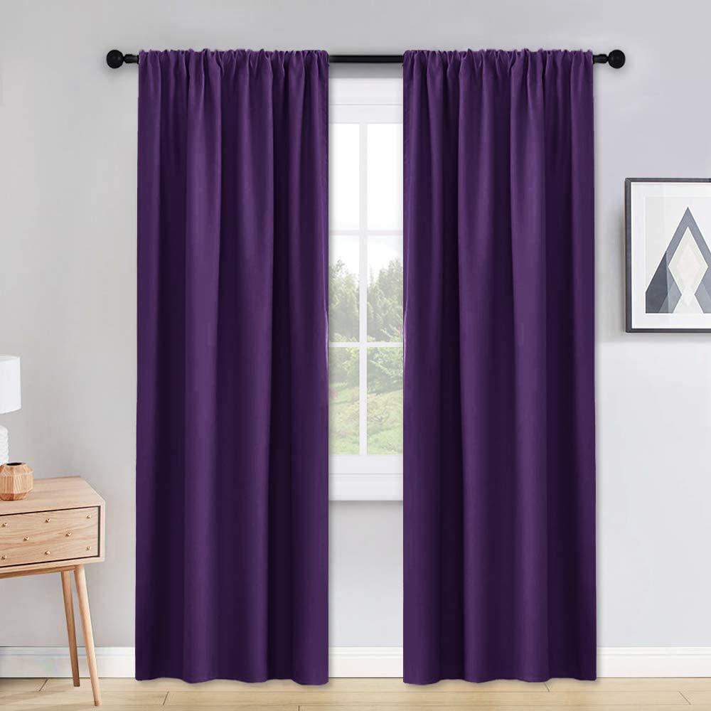 PONY DANCE Blackout Thermal Curtains - 42 inch x 90 in Royal Purple Light Blocking Thermal Insulated Rod Pocket Draperies Energy Saving/Modern Window Covering, Double Panels