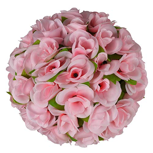"(Woooow Artificial Rose Ball,Rose Ball with Ivy Leave Wedding Flower Ball for Front Patio,Planter,Deck,Garden,Backyard and Home Decor,1 Pack(12""))"
