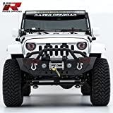 Razer Auto Black Textured Rock Crawler Stubby Front Bumper With Double Wrap Plate, Fog Lights Hole & 2x D-Ring & Winch Plate (Black) for 07-17 Jeep Wrangler JK