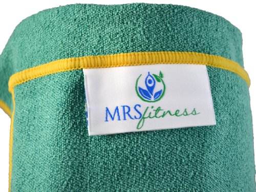 Yoga Mat Towels and Hand Towels - Best Accessory for Hot Yoga - Yoga Towel with Non Slip Grip; Exercise, Fitness, Pilates, and Yoga Gear; Money Back Guarantee (Mystic Green, Mat Towel)