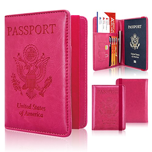 Passport Holder Cover, ACdream Travel Leather RFID Blocking Case Wallet for Passport with Elastic Band Closure, Hot Pink