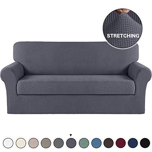 Turquoize Grey Sofa Slipcover Stretch High Spandex Sofa Cover/Lounge Covers/Couch Covers Furniture Covers for 3 Seater Cushion Cover Stretch, 2-Piece with Separated Sitting Cushion Cover (Sofa, Grey)