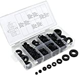 OCR Black Rubber Grommet Electrical Gasket Ring Assortment for Protecting Wires and Cables (180)