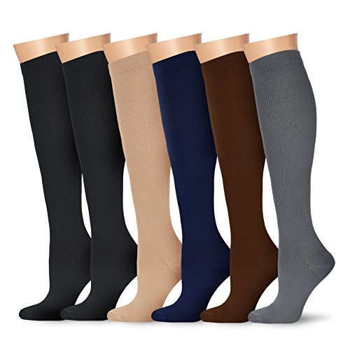 6 Pairs Knee High Graduated Compression Socks For Women and Men - Best Medical, Nursing, Travel & Flight Socks - Running & Fitness - 15-20mmHg (Small/Medium, Assorted 2)