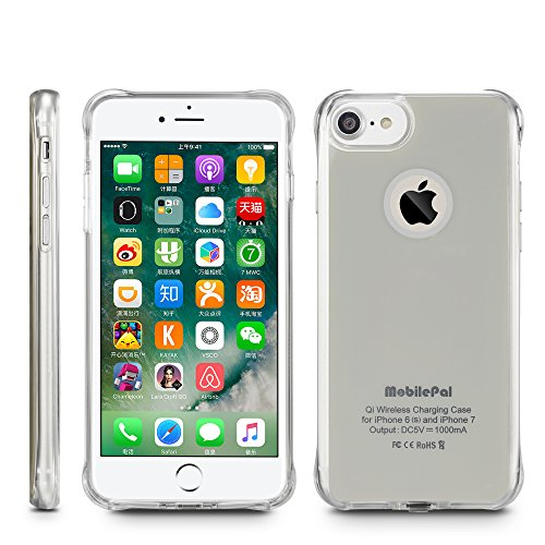 MobilePal Qi Wireless Charging Case for iPhone 7 and iPhone 6(s) [New 2017 Model] (Silver)