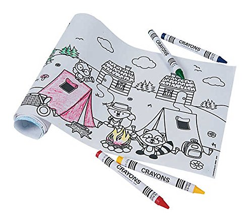 12 - Camping / Woodland Animal Coloring Rolls with Crayons Sets - CAMPING PARTY FAVORS ()