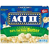 microwave fat free popcorn - Act II Popcorn 94% Fat Free Butter Flavored, 2.71 Ounce Bags, 6-Count, Pack of 6