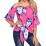 HGWXX7 Womens Tops 3/4 Sleeve Off Shoulder Front Print Tie Knot Blouse T-Shirt(M,Pink)