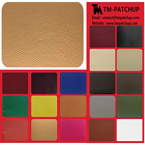 TMpatchup Genuine Leather and Vinyl Repair Patches Kit, Grain Self Adhesive Leather, Multiple Colors and Sizes Available (Light Tan, 8'' x 11'')