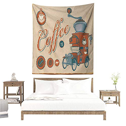 (Willsd Retro Tapestry Artsy Commercial Design of Vintage Truck with Coffee Grinder Old Fashioned Occlusion Cloth Painting 70W x 93L INCH Cream Orange Grey)