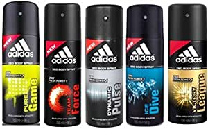 Adidas Pure Game Team Force Dynamic Pulse Ice Dive Victory League Deodorant Spray - For Men(150 Ml, Pack Of 5)