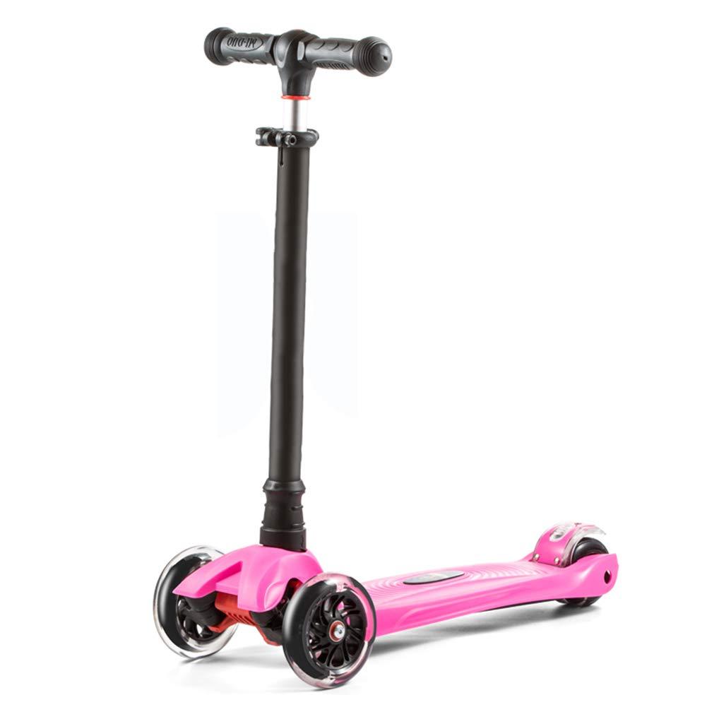 新しく着き キックスクーター三輪車スケートボードペダル式乗用スタントスクーターLED折りたたみTバーハンドルライトアップホイール付き調節可能な Pink B07HB623XS B07HB623XS Pink Pink Pink, 昭和村:354a0794 --- a0267596.xsph.ru