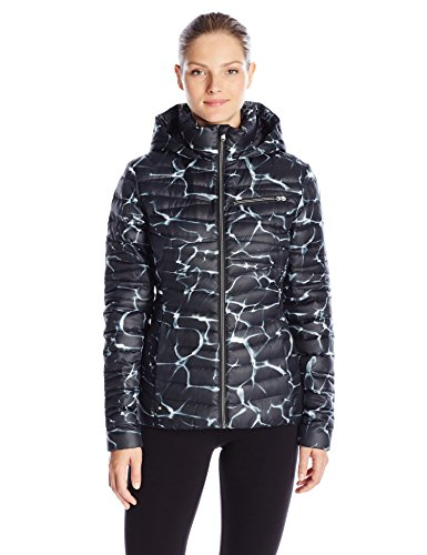 Spyder Women's Timeless Hoodie Down Jacket, Waves Print/Black, X-Small