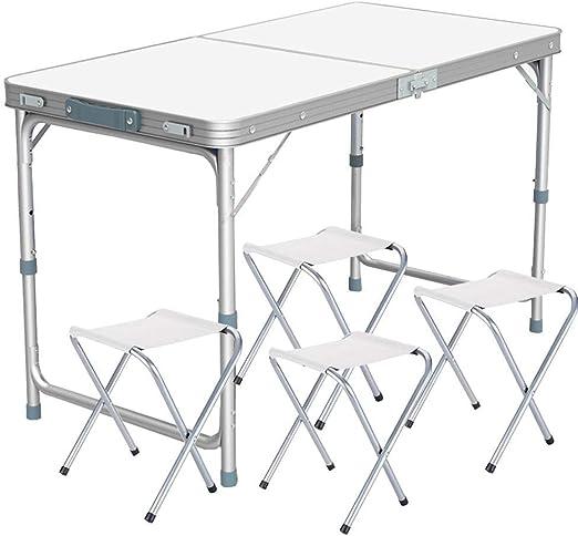 Tavolo Pieghevole Portatile Tavolo da Campeggio Lumiereholic Tavolo da Giardino Regolabile con 4 sedie Colore: Bianco Tavolo Pieghevole da Picnic 120 x 60 x 70 cm