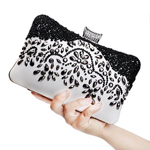 SSMK Evening Bag - Cartera de mano para mujer multicolor blanco y negro