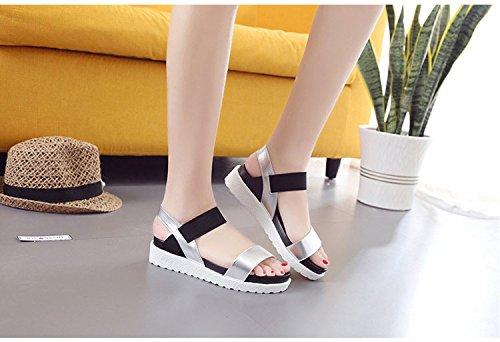 Women Lady Leopard Open Toe Ankle Strap Platform Sandals Wedge Heel Slip On Shoe Black 5v2JbFJMk8