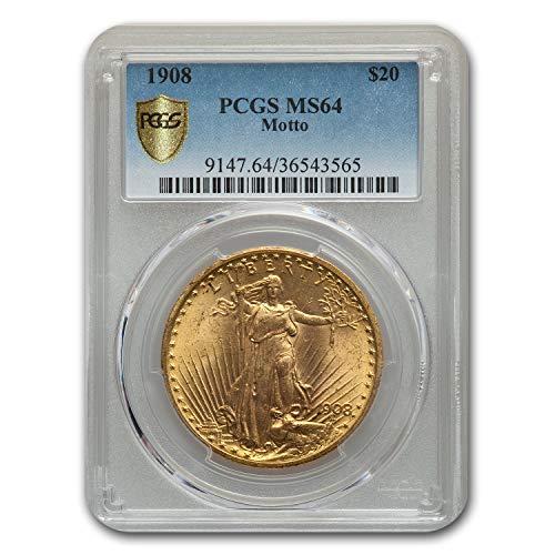 1908 $20 St. Gaudens Gold w/Motto MS-64 PCGS G$20 MS-64 PCGS