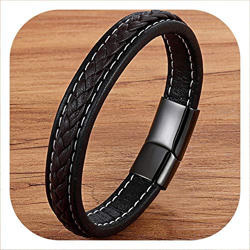 Cross Braided Design Leather Bracelet for Men Women Stainless Steel Magnetic Button Charm Cuff Bangle Gift 3 Sizes Choose,Black BlackCoffe,21cm