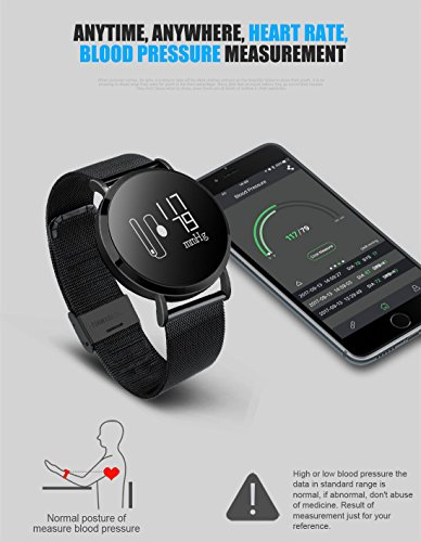 Hangang Fitness Tracker, Custom Activity Tracker with Heart Rate Monitor, Multiple Sport Modes Smart Watch Men, Women (Steel-Black) by Hangang (Image #8)