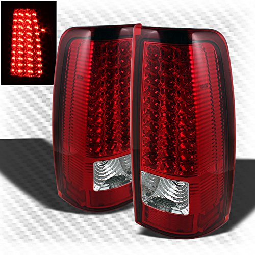 For 1999-2002 Chevy Silverado 1999-2003 GMC Sierra LED Red Clear Tail Lights Lamp Pair Left+Right 2000 2001 -