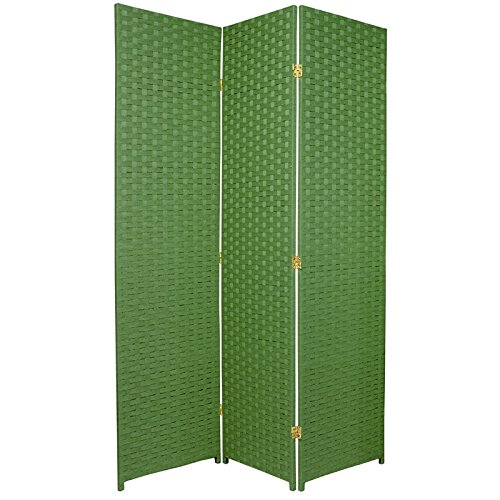 ORIENTAL FURNITURE 6 ft. Tall Woven Fiber Room Divider - 3 Panel - Light Green