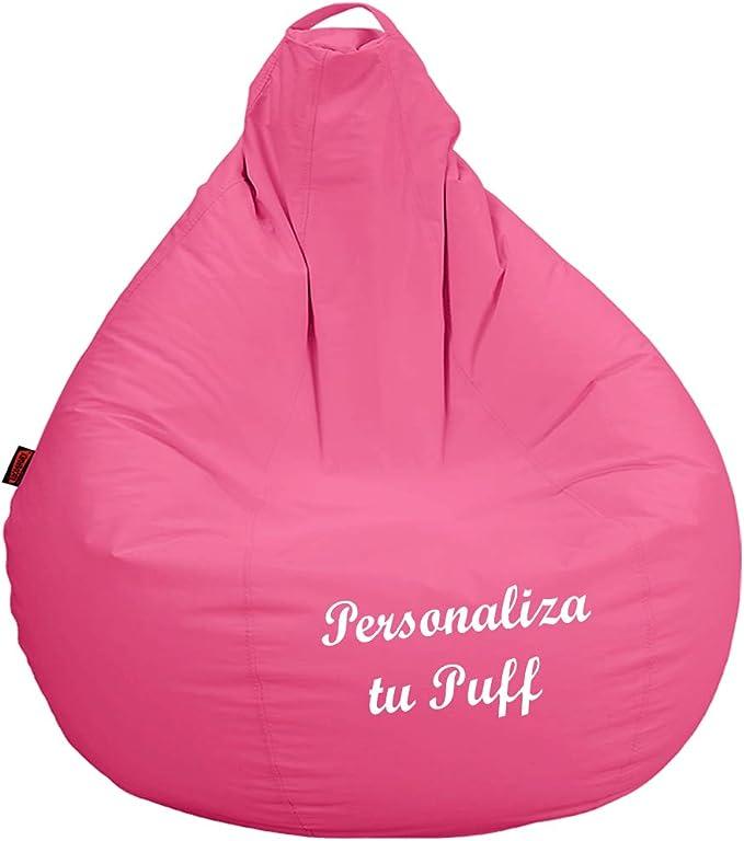 loconfort Puff Pera Personalizado con TU Nombre, Poli Piel Beig (L ...
