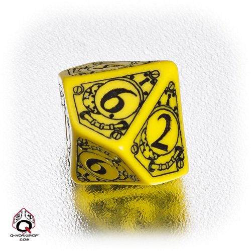 1 forme-d10 Q-Workshop : STEAMPUNK dix face en forme de dé/Die (Jaune/Noir)) SSSTD10 Yellow / Black