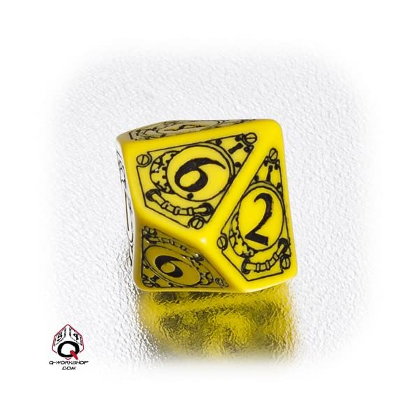 1 (One) Single d10 - Q-Workshop: Carved STEAMPUNK Ten Sided Dice / Die (Yellow / Black) 3