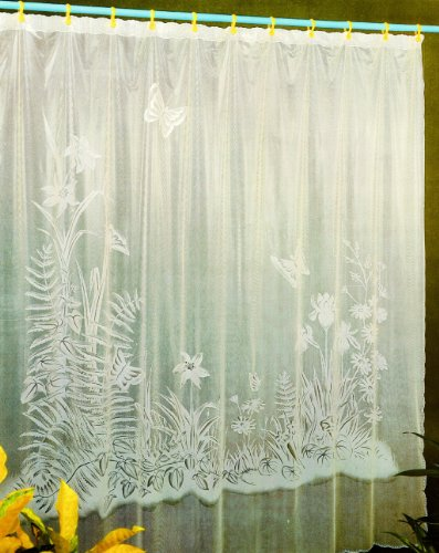 Sana Enterprises Shower Curtain 70x72 Inches, Vinyl with 12 White Hooks, Clear, Garden and Butterflies Pattern
