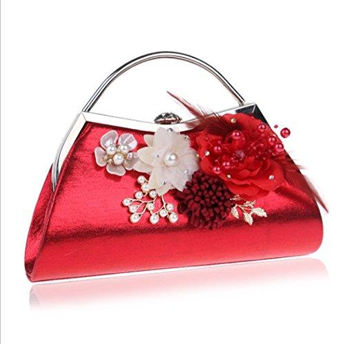 Prom à rouge Dames Fleur mariage Sac bleu Pochette à motifs noir couleur bandoulière de à pour main bal Sac mariée idées cadeaux Soirée bandoulière Rouge Sac à Sac Soirée ppqOrZWw
