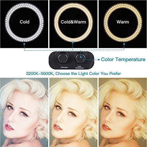 Ring Light, Zomei Anneau Lumineux Réglable de 16 Pouces à 38w avec Support pour Mobile 3200k-5600k pour la Photographie, Maquillage, Salons de Beauté, Vidéos sur Youtube - Noir