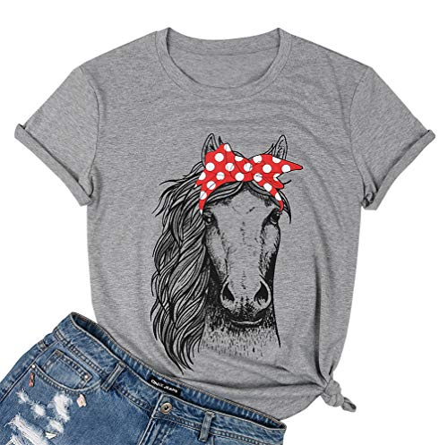 UNIQUEONE Horse Shirts for Women Teen Funny Cute Graphic Tee Casual Country T Shirts Grey]()