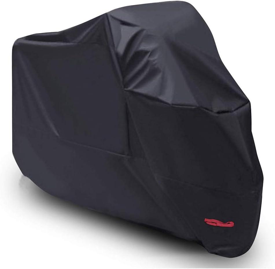 Funda para Moto Scooter XXL, Cubierta de Moto Impermeable Protección con Recubrimiento de PU, Dobladillos Elásticos y Cinturón a Prueba de Viento