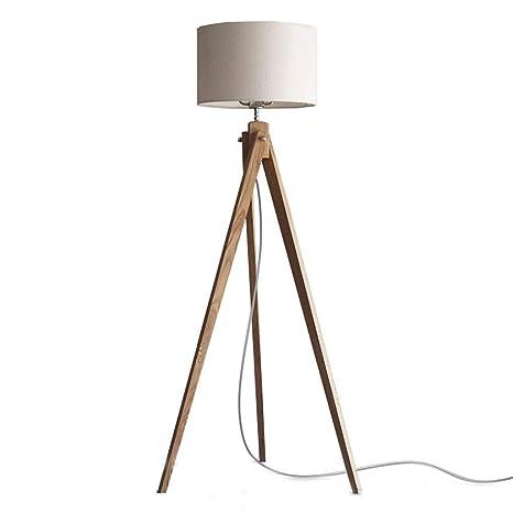 RUIMA Lámpara de pie con trípode LED - Madera, luz Moderna ...