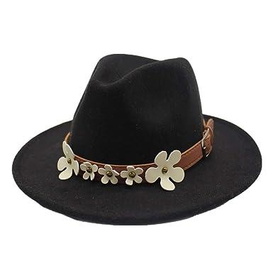 da59892a14d Top Hat Jazz Hats Fedora Hat Wool 5 Flower Decoration Classical Sombrero  Autumn and Winter Women s
