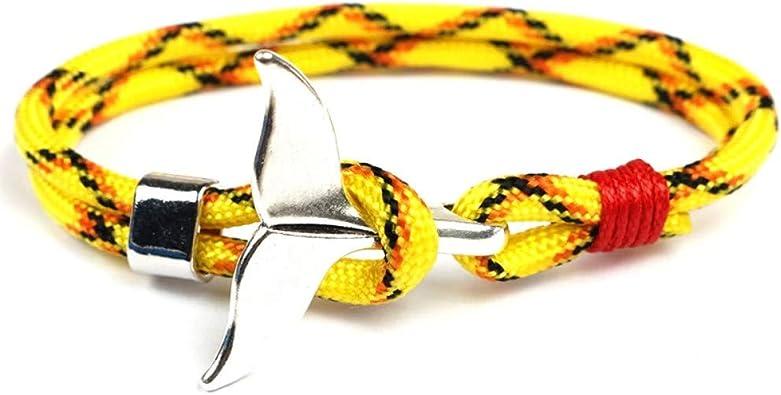 EXINOX Pulsera Nautica Ballena | Hombre Mujer | Vida Marina Mar | Color Plata (Amarillo, Negro Y Naranja): Amazon.es: Joyería