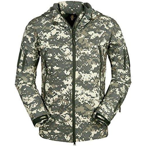 Eglemall Men's Outdoor Hunting Soft Shell Waterproof Tactical Fleece Jackets (Medium, ACU)