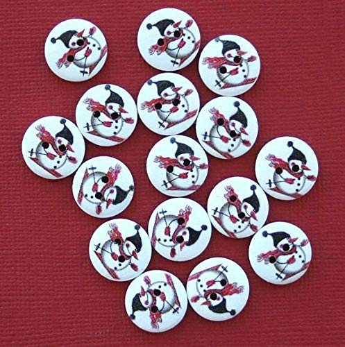 (20 Snowman Buttons Painted Wood Snowman on Skiis 15mm BUT230)