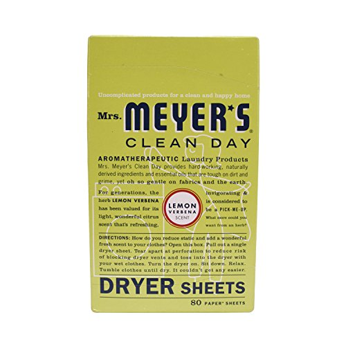Mrs. Meyer's Clean Day Dryer Sheets, Lemon Verbena, 80 (Lemon Verbena Fabric Softener)