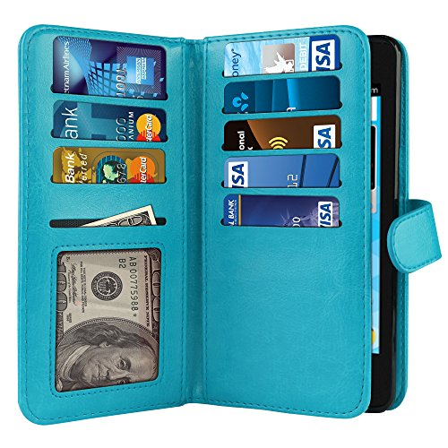 NEXTKIN Quest Uhura Case, Leather Dual Wallet Folio TPU Cover, 2 Large Pockets Double flap Privacy, Multi Card Slots Snap Button Strap For ZTE N817 Quest Uhura - New Teal