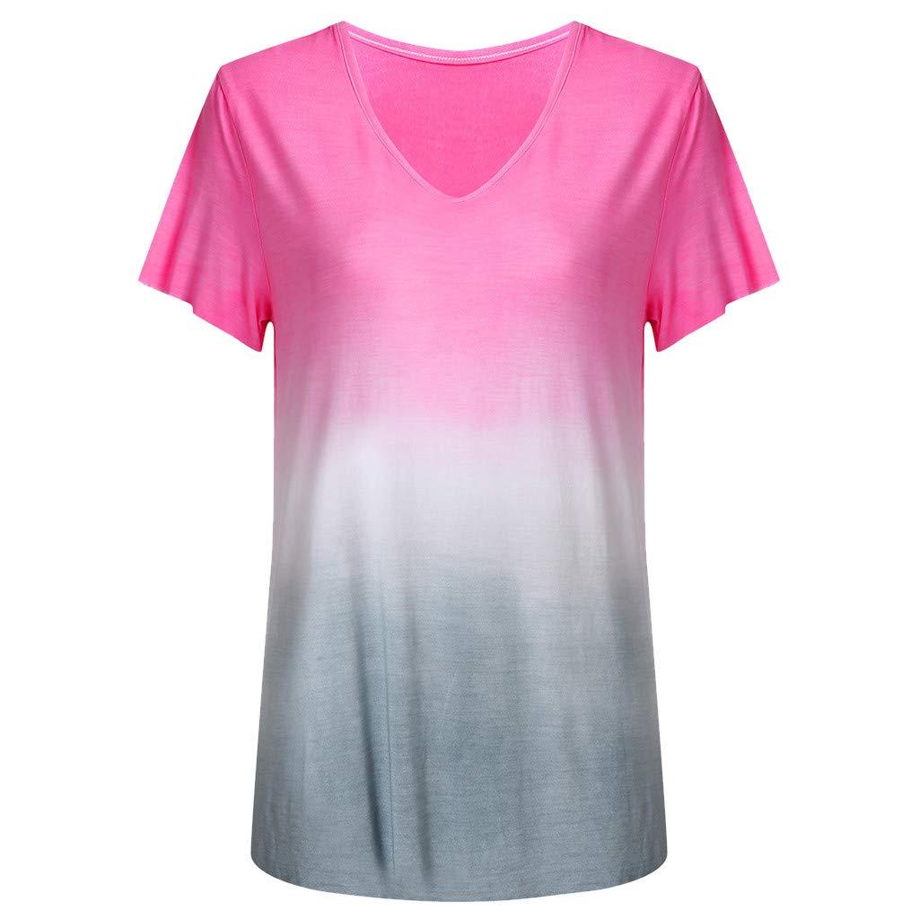 Camiseta de Manga Corta con Cuello en V Color Degradado para Mujer ...