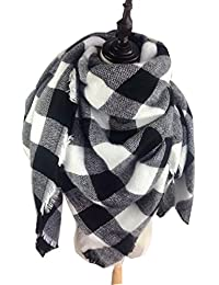 LS Lady Stylish Large Tartan Warm Blanket Scarf Gorgeous Wrap Scarf Shawl (Black)