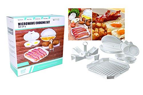 MICROWAVE COOKING SET: Bacon Plate cooker, Omelette Tray, Egg Poacher, Potato (Omelet Plates)