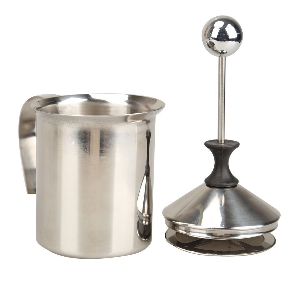 400ML Milk Frother - SODIAL(R) 400ML Stainless Steel Double Mesh Milk Frother Milk Foamer Milk Creamer (400ml/13.5oz) Silver AEQW-WER-AW143050