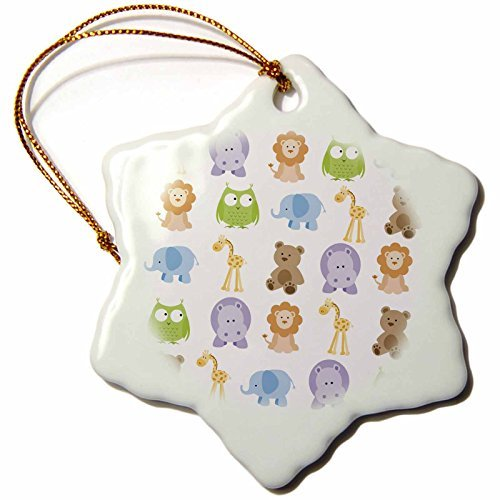 Christmas Ornament BrooklynMeme Animals - Cute zoo animals - Snowflake Porcelain Ornament -