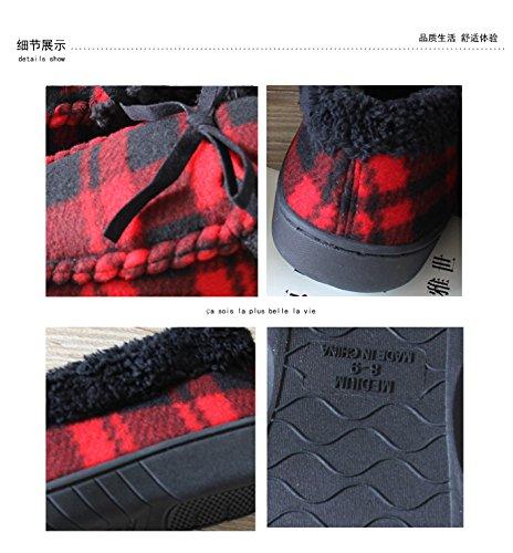 CWAIXXZZ pantofole morbide Autunno e Inverno pacchetto con il cotone pantofole home calzature per le coppie, gli uomini e le donne di filo rosso sulle calzature e scarpe (034,42 per un 41-42 piedi usu