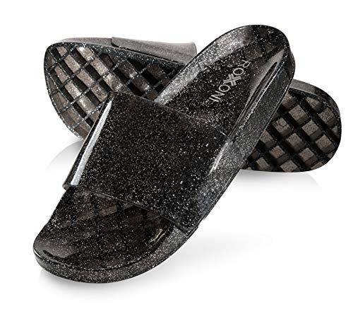 (Roxoni Women's Summer Flip Flop Open Toe Clear Jelly Glitter Slide Sandal Slippers (Size 10) Black)
