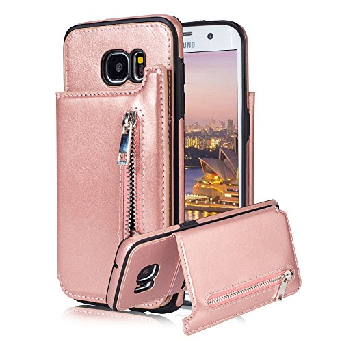 For Samsung Galaxy S7 Pocket Case, Aearl TPU Bumper Shell Back Magnetic Button Closure Retro PU Leather Cover Zipper Wallet Purse Card Holder Slot Kickstand Case for Samsung Galaxy S7 - Rose Gold