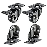 Low Profile Castor Wheel 2 inch Rubber Swivel Caster 360 Degree Swivel Furniture Wheel Set of 4 Capacity 390 lbs with Brakes (with Screws)